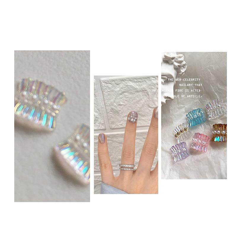 100pcs Aurora Skirt Nail Rhinestones 9.5*8mm 3D Charm Resin Manicure Jewelry Accessories For Nail Art 3D Glitter Charms BZY666