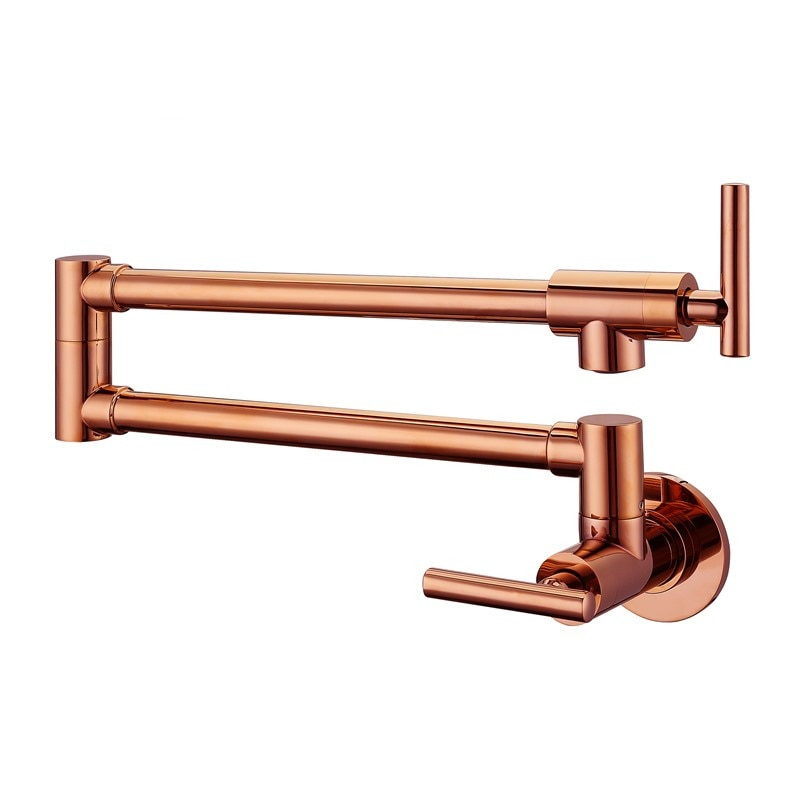 Hot Sale Modern Style Solid Brass Rose Gold Finish Wall Mounted Pot Filler Sink Tap Kitchen Faucet  Elbow Crane