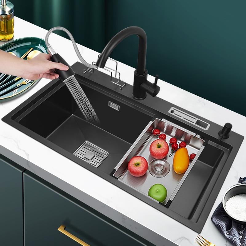 نانو أسود الدرج كبير واحد بالوعة المطبخ 1.2 مللي متر سميكة مع حامل سكاكين الفولاذ المقاوم للصدأ خطوة الجدول تحت 780x430mm