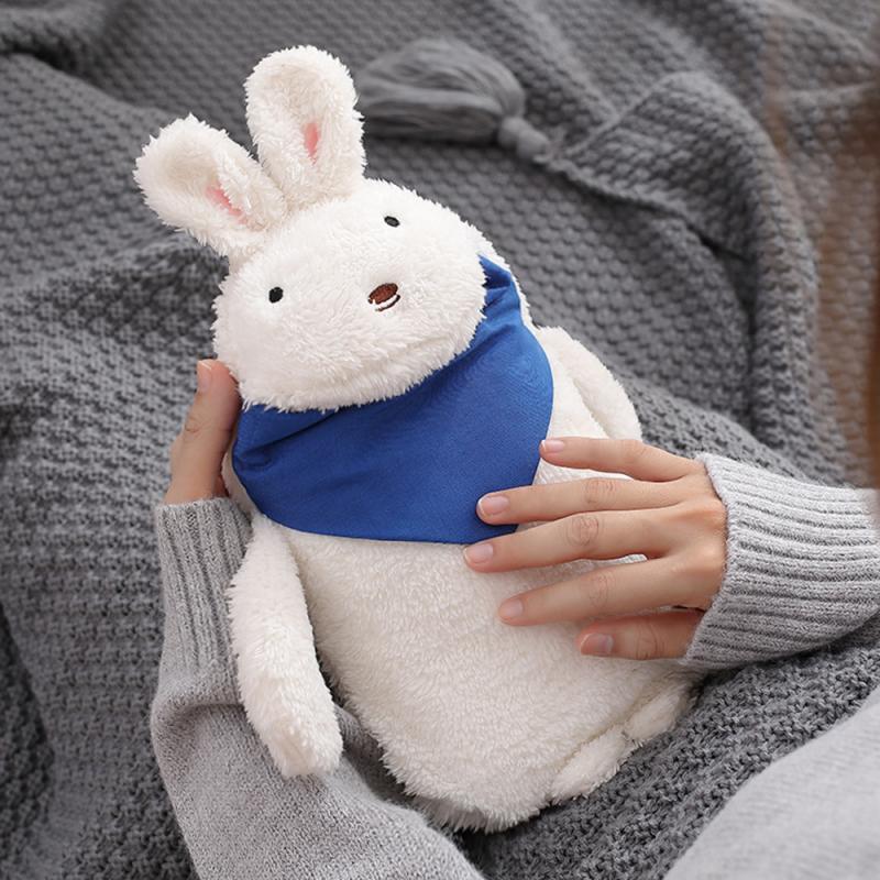 Bela mão aquecedores pudim coelho branco pelúcia saco de água quente injeção de água garrafa de água quente doméstico dropshipping
