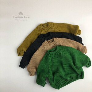 Autumn Kids Knitting Coat Baby Girls Boys Pullover Sweaters Baby Girls Boys Winter Solid Color Long Sleeves Knitting Clothes
