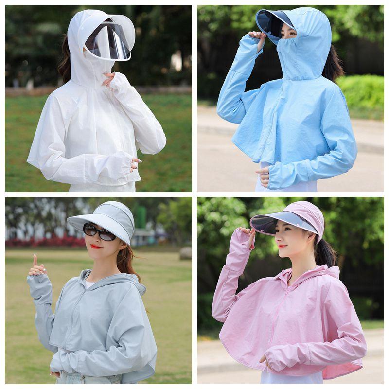 New Women Sun Protection Clothing Long Sleeve Cardigan Short Hooded Sunscreen Coat Thin Prevent UV Shade Shawl Clothing W1889