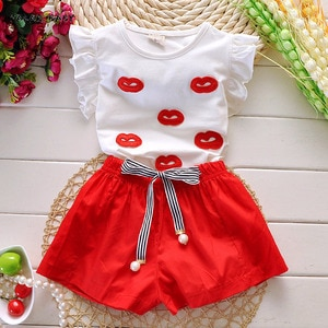 Summer Girls Two Piece Suit Sexy Lip Embroidered T-shirt Shorts School Style Children's Clothing Sets 4 5 6 7 8 9 10 Ages