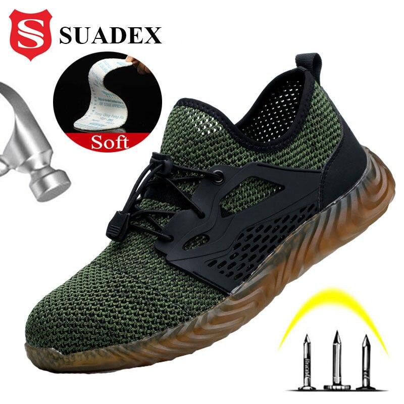SUADEX-أحذية أمان للرجال والنساء ، أحذية عمل مسامية ، غطاء إصبع القدم الصلب ، مقاوم للثقب ، أربعة مواسم ، شحن مباشر