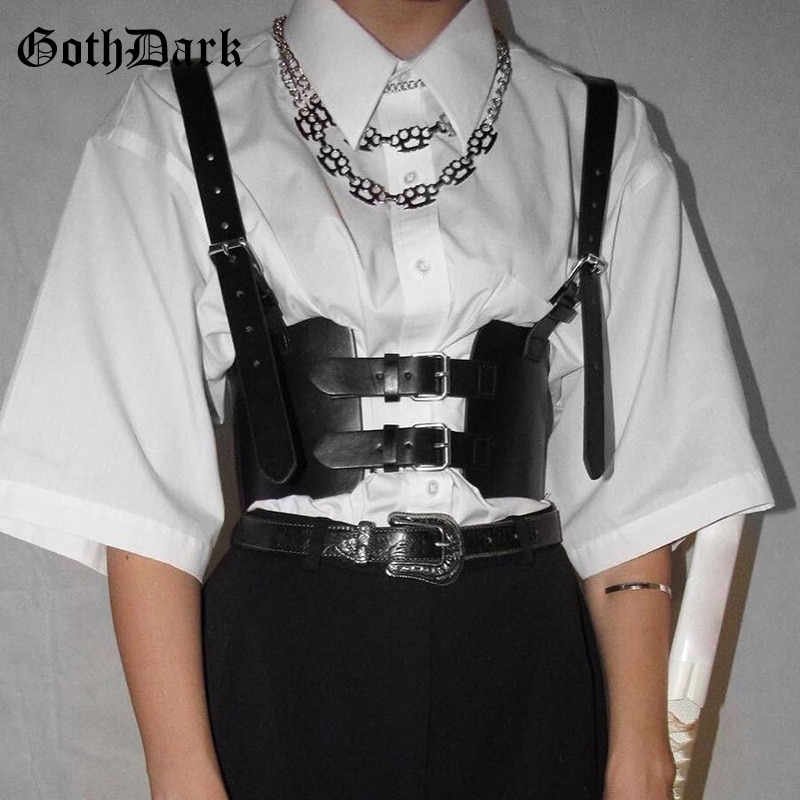 Goth Dark Faux Leather Grunge Gothic Corsets Punk Black Pu Mall Women Bustier Bodycon Backless Patchwork Camis Streetwear