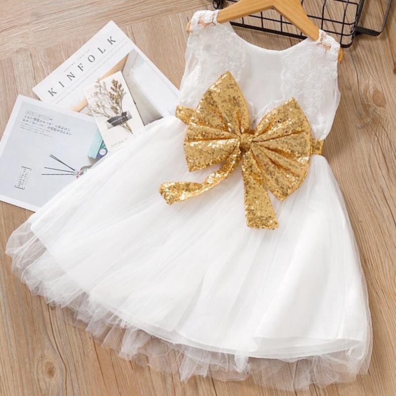 Toddler Baby Girl Clothing Bowknot Belt Lace Princess Dresses Summer Fashion Kids Dress Tutu Ball Go