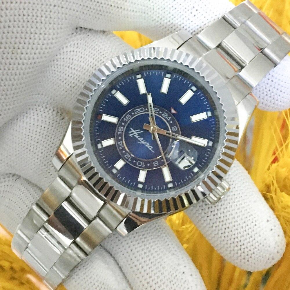 Caixa de Aço Inoxidável à Prova Relógio Masculino Automático Dwaterproof Água Prata Case Azul Preto Dial Luminoso Dobrável Fivela 40mm