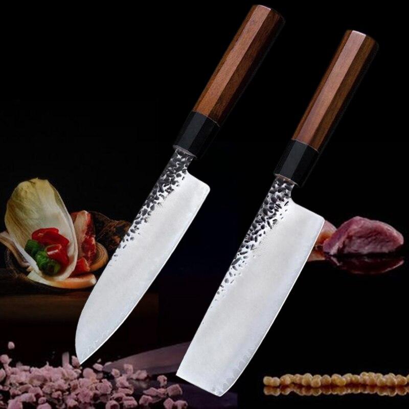 2 قطعة سكين مطبخ مجموعة 7 بوصة الشيف السكاكين اليابانية فائدة Santoku سكين اللحوم الساطور أدوات دمشق الفولاذ المقاوم للصدأ السكاكين كوك
