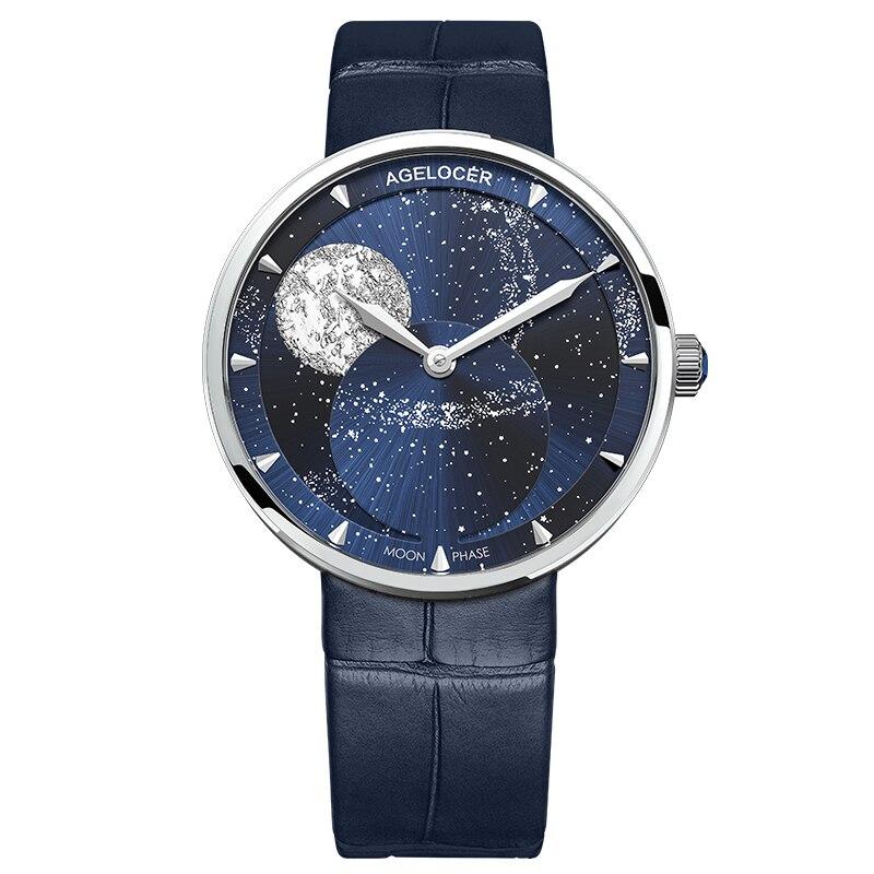 AGELOCER Van Gogh Moonphase Watches Women Waterproof Quartz Watch Clock Women Watches Black Blue Lady Watch Relogio Masculino enlarge