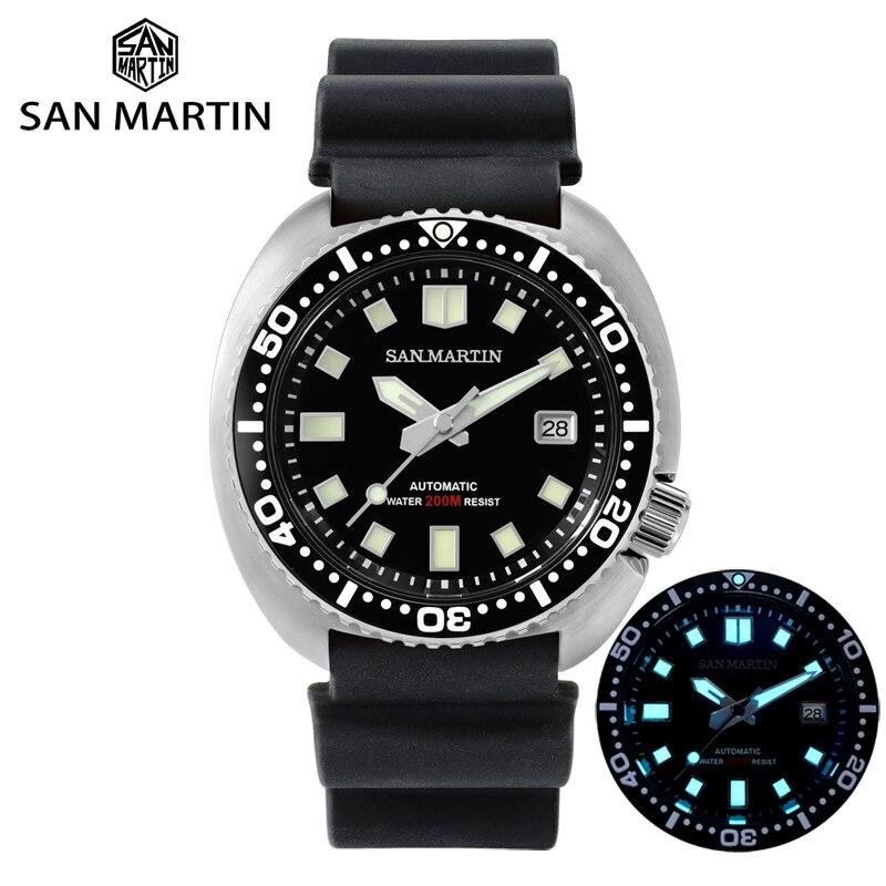 سان مارتن غواص ساعة 6309 السلاحف 20 بار الفولاذ المقاوم للصدأ ساعة ميكانيكية الياقوت المطاط BGW9 مضيئة ساعة أوتوماتيكية رجالي