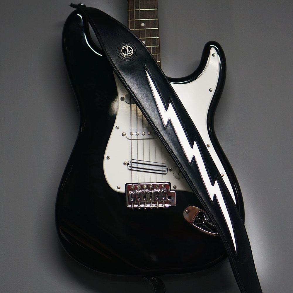 Real Cowhide Black Leather Padded Guitar Strap Cool Lightning Bolt Adjustable Strap For Electric Acoustic Bass enlarge