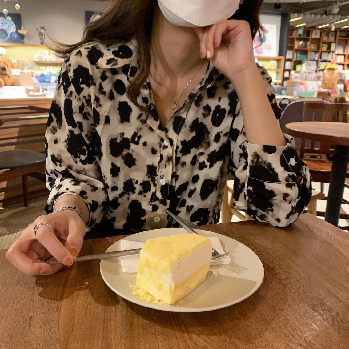 spring leopard long sleeve shirt female women tops 6809#