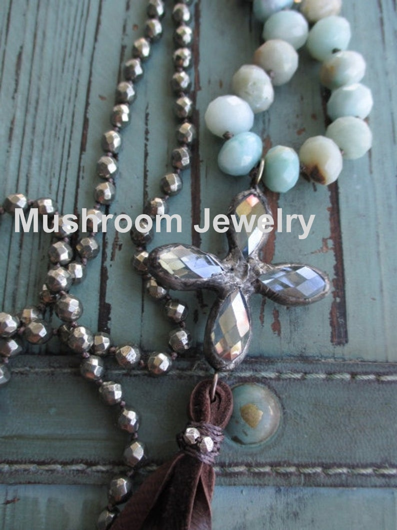 Knot Boh Pyrite Gemstone Beads And Amazonite Cross Pendant Jewelry Charm  Necklace For Women leather Tassel