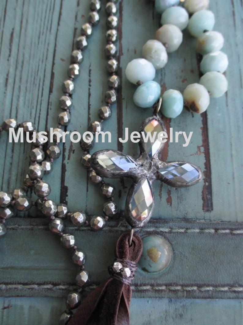 عقدة Boh البايريت الأحجار الكريمة الخرز و امازونيتي الصليب قلادة مجوهرات حلية قلادة للنساء الجلود شرابة