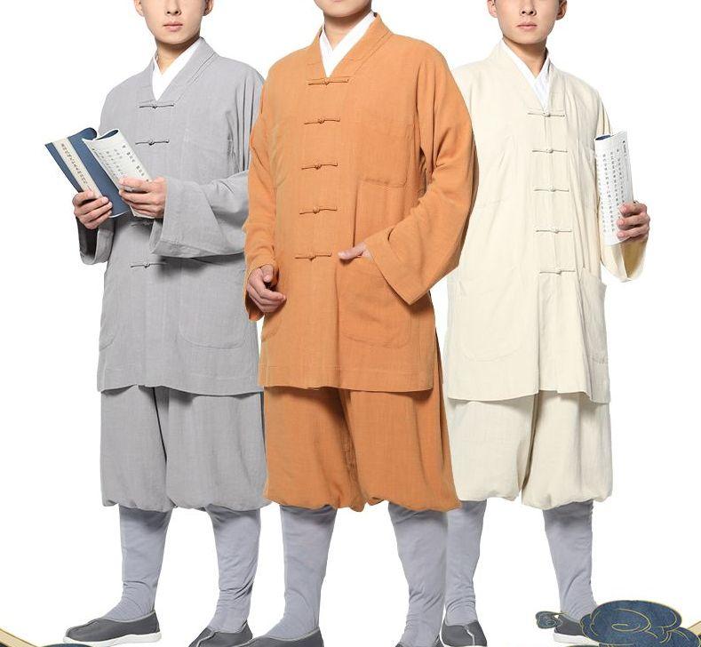 unisex cotton&linen shaolin monk kung fu suits zen lay clothing buddha outfit meditation uniforms