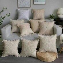 Housse de coussin avec pampilles en Crochet   Fait à la main, taille carrée, 45 cm, grande décoration de maison, blanc, ivoire