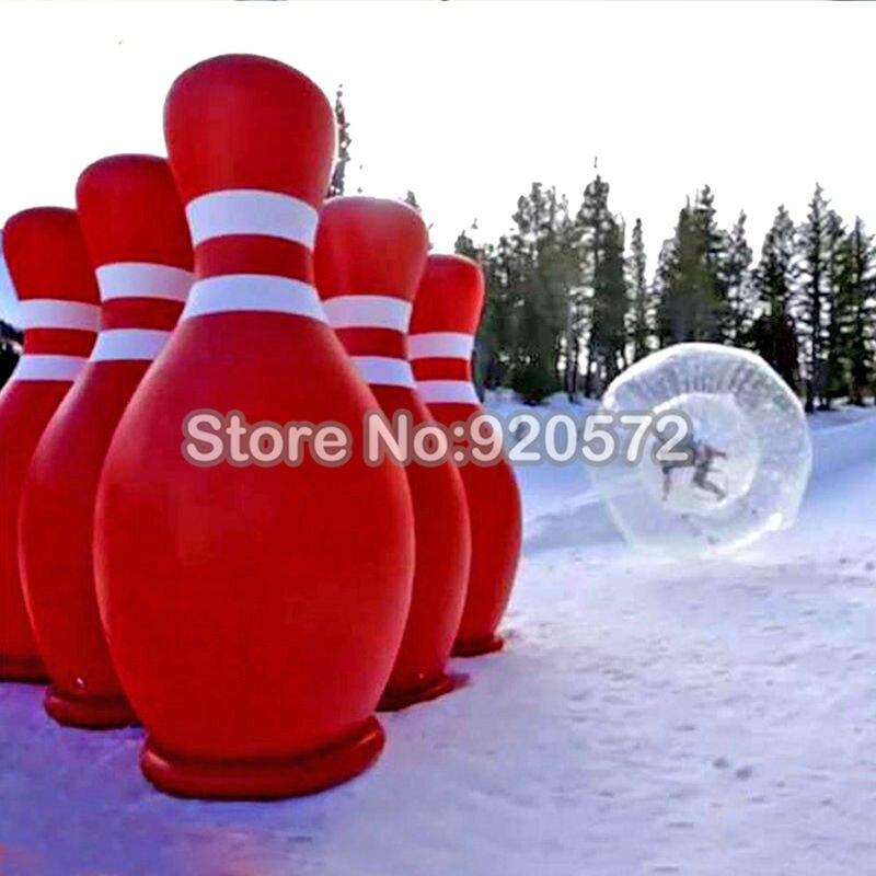 شحن مجاني! شحن مضخة! 2 كرات زورب مع 6 قطع مجموعة 1.8 متر كرة بولينج إعلانية قابلة للنفخ لدبابيس البولينج البشرية