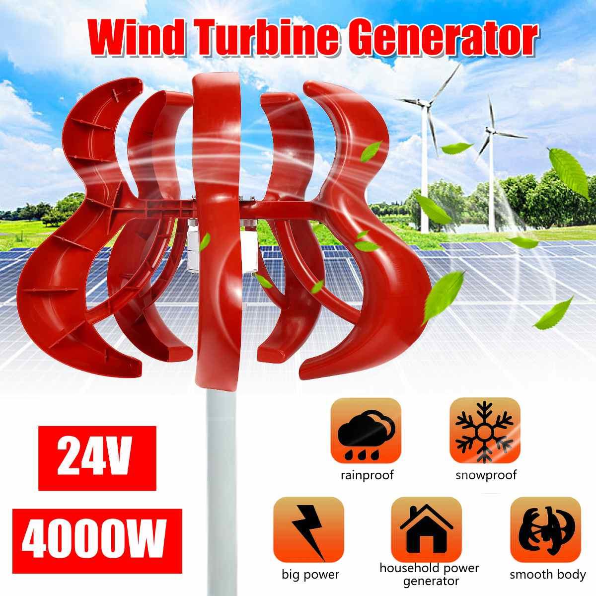 4000W 5 cuchillas verticales Axi generador de turbinas de viento linterna 12V 24V Kit de Motor electromagnético para uso en farolas domésticas
