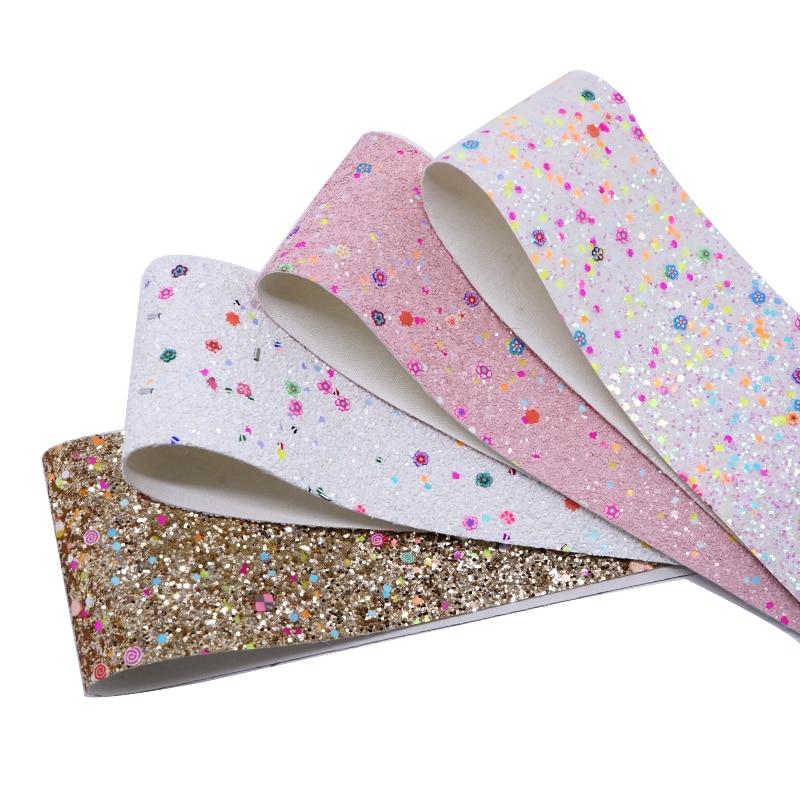 Suministros para manualidades DIY Tela de cuero sintética falsa purpurina para decoración de lazos de pelo 75mm de ancho 5 yardas. PU002