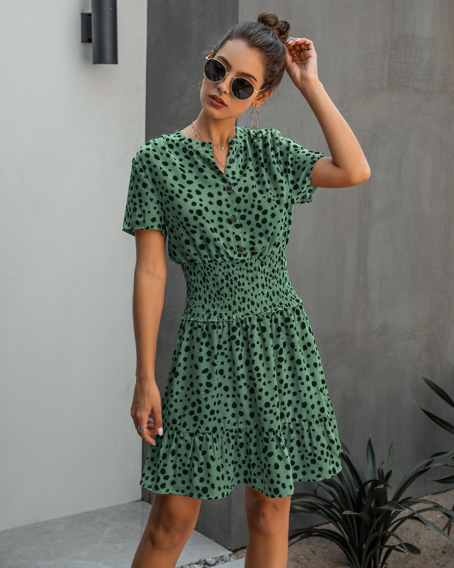2020 novedad de Verano de la moda de las mujeres Bodycon Mini vestido de punto con cuello en V vestido Casual para Sexy mujeres de manga corta de vacaciones vestido