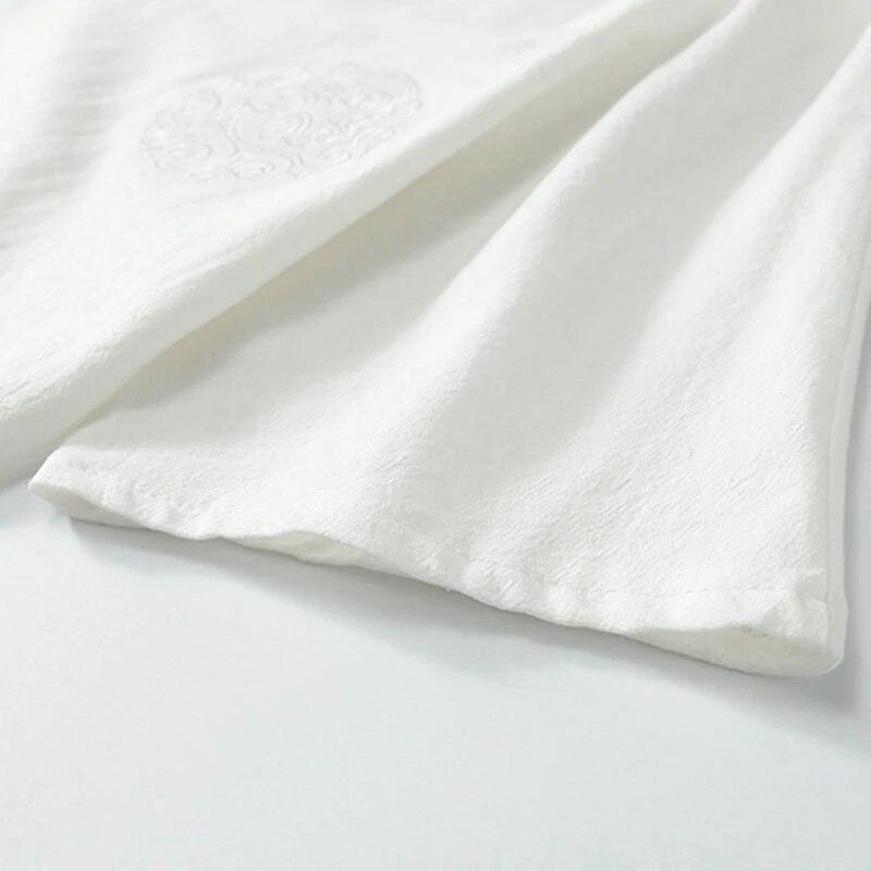 Summer Men chinese style sleep tops homewear large size T-shirt Short Sleeve Tees big size 7XL 8XL 9XL v-neck linen tshirt 68 70
