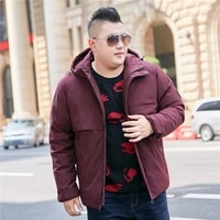 color black dark blue wine red 2019 winter new mens hooded coat extra large xl 10xl mens jacket casual warm thick jacket