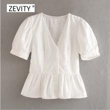Zevity femmes mode v cou lanterne manches décontracté blouse chemisier femme évider broderie plis chemise chic haut blouse LS6843