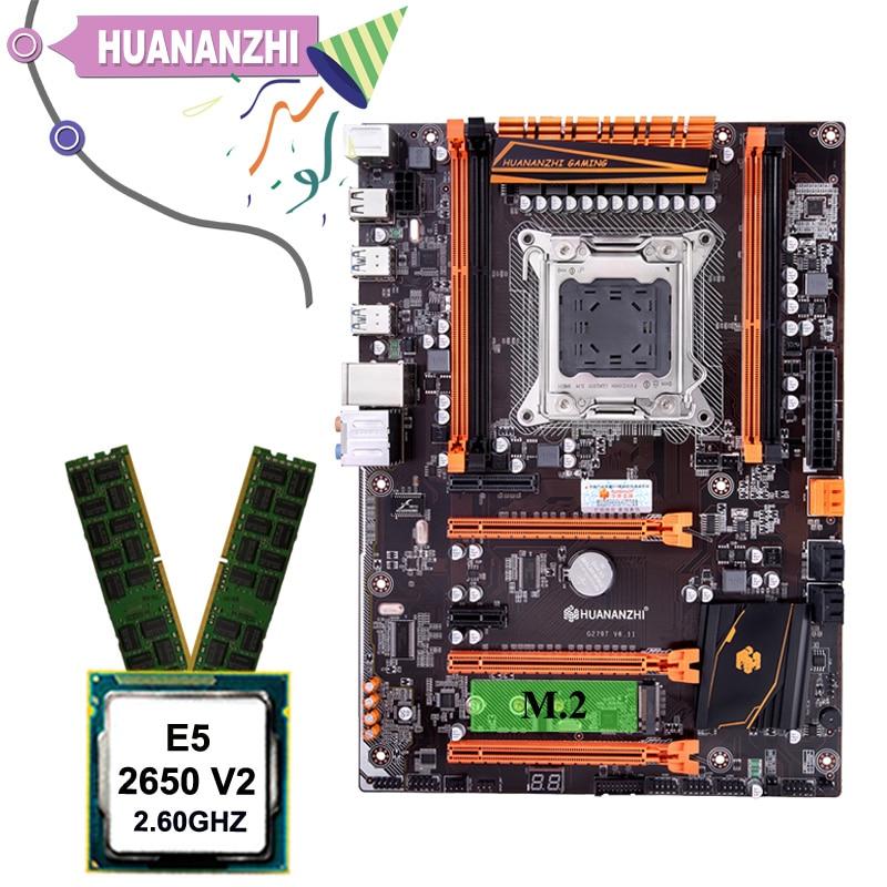 HUANANZHI X79 ديلوكس اللوحة مجموعة ل كمبيوتر ألعاب مرحبا السرعة M.2 NVMe SSD فتحة وحدة المعالجة المركزية Xeon E5 2650 V2 RAM 16G(2*8G) REG ECC