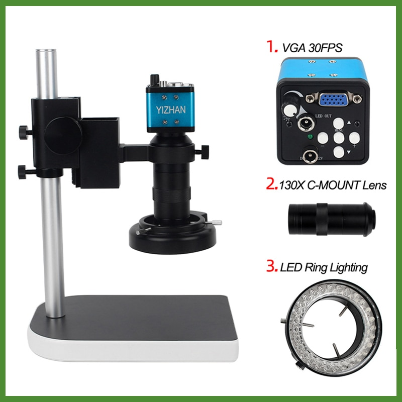Microscopio Digital Video Industrial 130X C 1080P 2MP HDMI VGA lente de montaje 56 Anillo de luz LED soporte REPARACIÓN DE PCB microscopio + Cámara