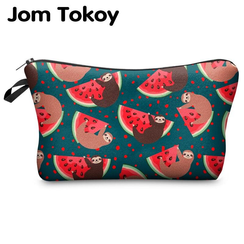Jomtokoy, neceser para mujer con estampado de perezoso, neceser con impresión Digital para viajes, organizador, bolsa de maquillaje, hzb1008