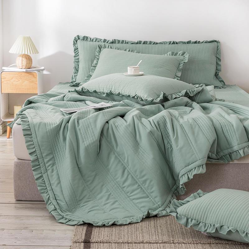 1 قطعة المفرش الملكة حجم مبطن غطاء السرير ل فراش الأخضر المعزي الملك الحجم غطاء السرير (لا المخدة)