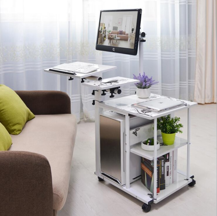 nb fc35 190cm computer sit stand work station desk mount laptop table stand monitor ergonomic desktop with keyboard plate Simple bed side laptop desk with stand lazy computer desk bed PC desk desktop table home rotating moveable laptop table