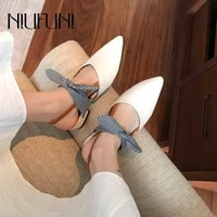 niufuni summer flat shoes pointed toe bow loafer muller ladies slides elastic band slip on womens shoes elegant casual sandals