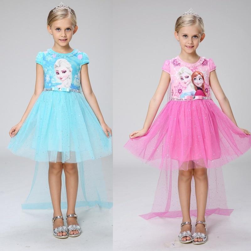 Original Frozen Anna Elsa dibujos animados impreso vestido de princesa de algodón rosa azul verano niños niña bebé manga corta