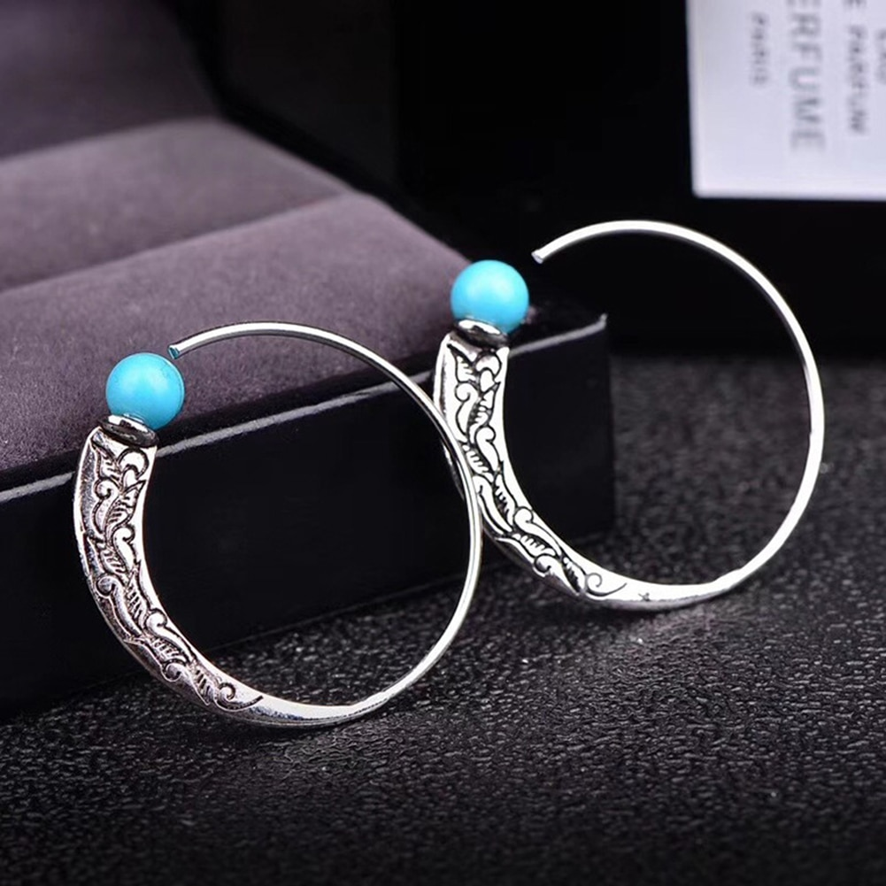 Moda bohemia vintage longo gota brinco para jóias femininas étnico natural azul turquesa pedra brincos redondos pendentes
