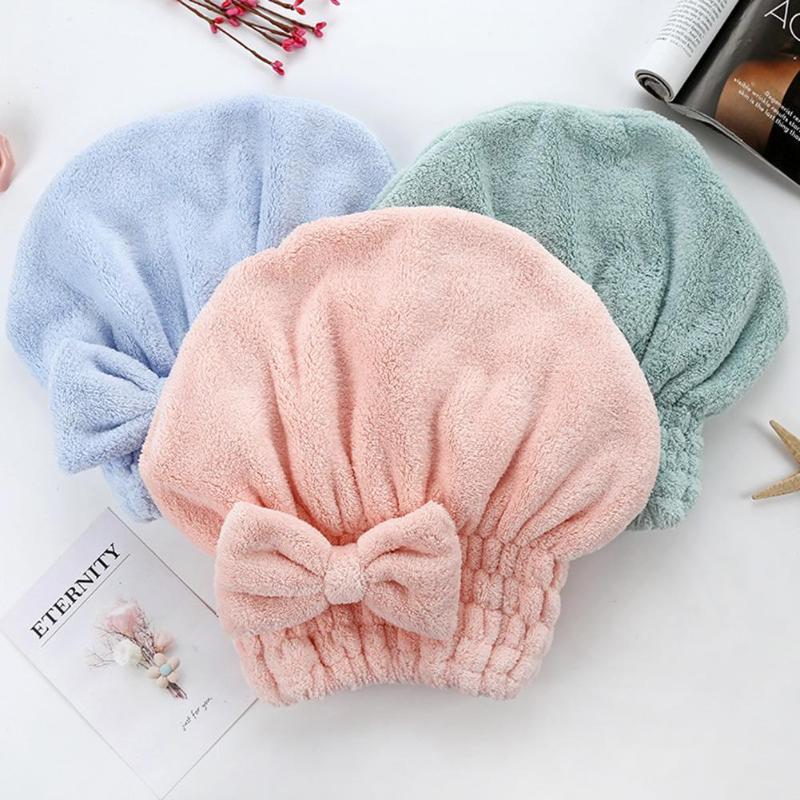 Toalla de terciopelo Coral para secar el cabello, gorros gruesos, superabsorbentes, secado rápido, gorros envueltos en la ducha, Color sólido para el baño