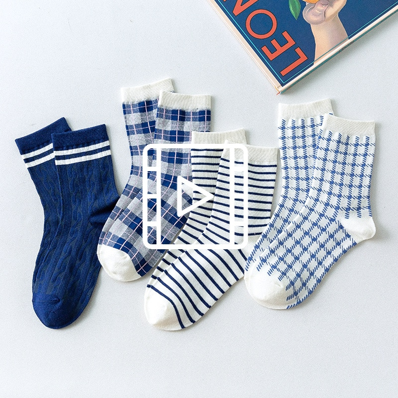 Socks Women And Man Geometric lattice New product blue cotton Refreshing and breathable Comfortable
