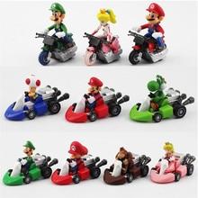 10 pièces/lot Super Mario Bros Kart tirer voiture Mario Luigi Yoshi crapaud champignon princesse pêche âne Kong Figure jouet
