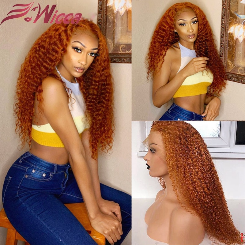 Orange Ginger Curly Lace Front Human Hair Wigs 180 density 13x4 Lace Frontal Wig Brazilian Remy Hair Pre Plucked For Women