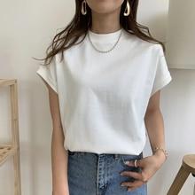 T-Shirt Women New Korean Style White Crew Neck Loose Feeling Short Sleeve Simple Plain Ladies Fashio