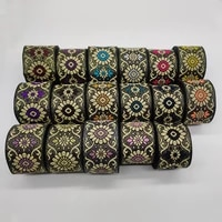 1 meters ethnic style floral jacquard ribbon for diy craft curtain home textile stage clothing bags decoration accessories