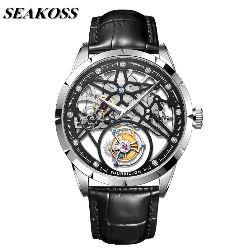 Full Skeleton Real Tourbillon Watches Mens Sapphire Glass Transparent Clock Men Mechanical Tourbillon Wrist Watch Sport Casual