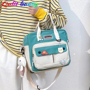 Small Women's Cute One Shoulder Bag High Quality Waterproof Nylon Badge Backpacks for School Teenagers Girls Button School Bag