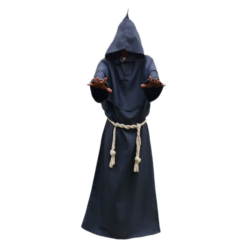 Unisex Halloween Robe Hooded Cloak Costume Cosplay Monk Suit Adult Role-playing Decoration Clothing Q6PB newly halloween female death dress terror skull role playing suit cloak stage costume for women te889