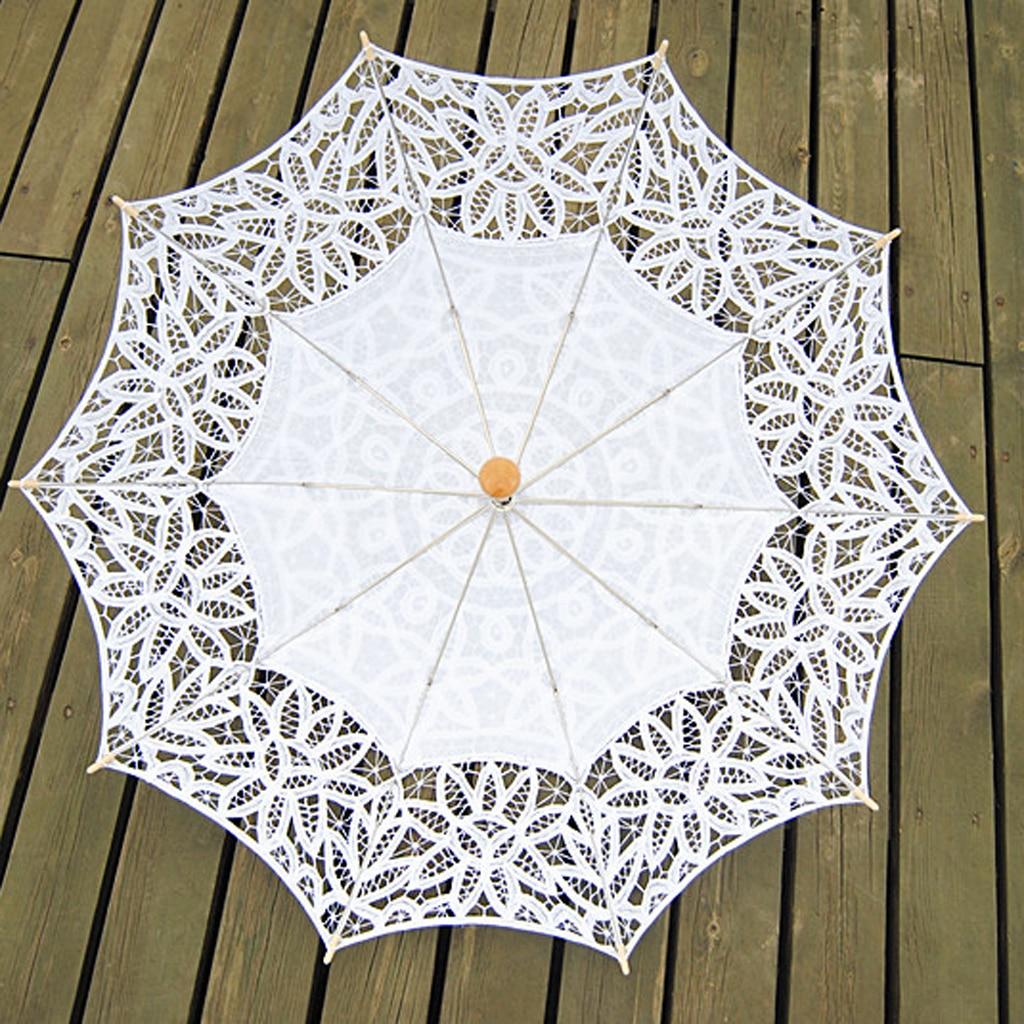 أزياء من الدانتل مظلة شمسية مع للطي مروحة اليد للتصوير الفوتوغرافي الزفاف دعامة الرقص الأبيض