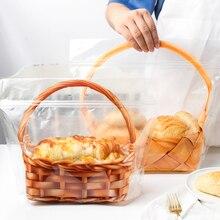 5 pièces créatif Transparent Portable panier Toast pain Ziplock sac gâteau Cookie bonbons pâtisserie cadeau sacs cuits sac demballage alimentaire