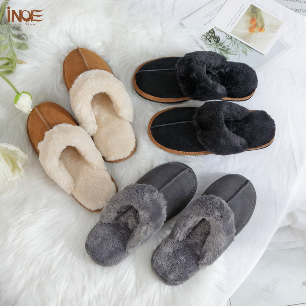 INOE 2021 Cow Suede Leather Plush Fur Lined Women Winter Slippers Home Half Casual Shoes Slip On Hou