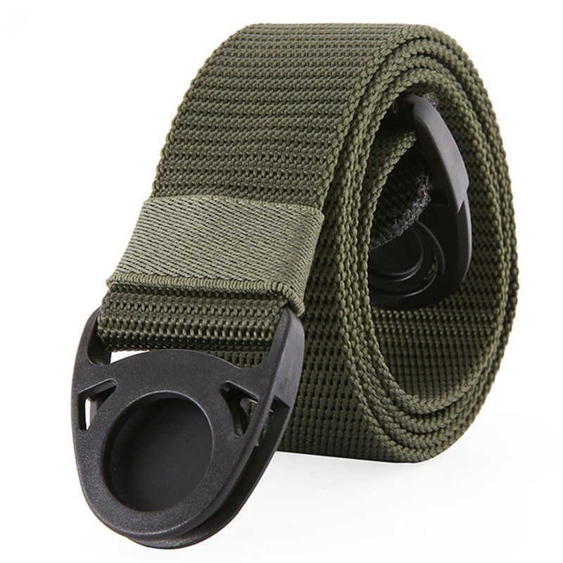 TJ-TingJun Canvas Belt POM Plastic Buckle Without Iron Anti-metal Allergy Security Check Military Training Outdoor Leisure