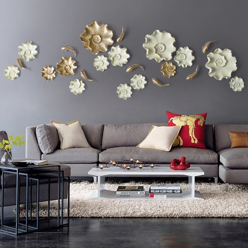 Resina 3D pez loto escultura hogar pared colgante decoración Bar restaurante tienda colgante decoración de sala de estar