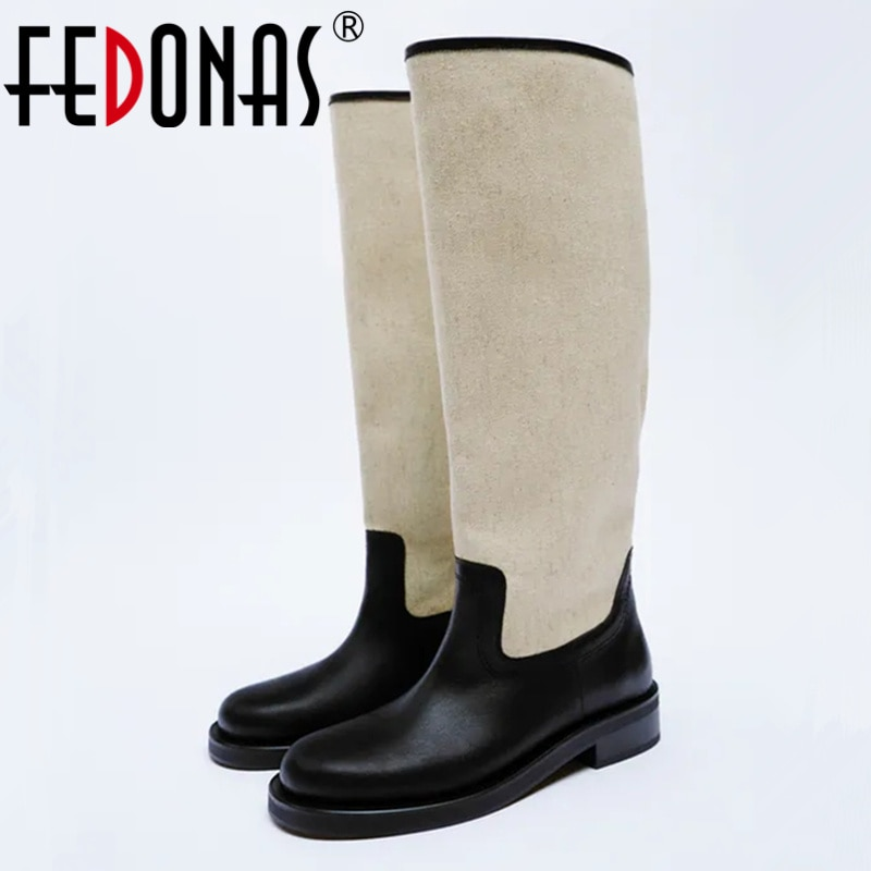 FEDONAS Ins ماركة 2022 النساء جلد طبيعي الركبة الأحذية جودة عالية الكعب دراجة نارية أحذية طويلة الدافئة الخريف الشتاء أحذية امرأة